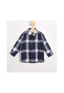 Camisa Infantil Estampada Xadrez Manga Longa Azul Marinho