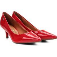 2914c67457 Scarpin Vizzano Salto Baixo Básico - Feminino-Vermelho Escuro