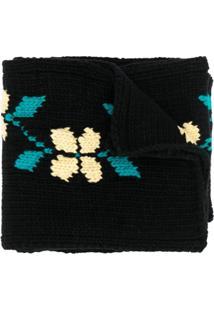 Ymc Cachecol De Tricô Com Estampa Floral - Preto