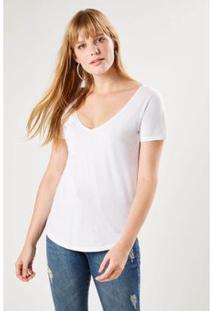 Camiseta Malha Básica Decote V Sacada Feminina - Feminino-Branco