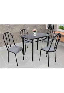 Conjunto De Mesa Com 4 Cadeiras Genebra Couro Sintético Preto E Vegetale