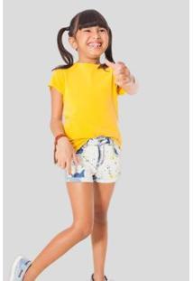 Camiseta Infantil Na Reserva Mini Feminina - Feminino-Amarelo