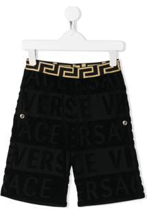 Young Versace Logo Pattern Shorts - Preto