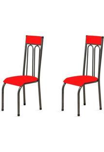 Kit 2 Cadeiras Anatômicas 0.120 Estofada Craqueado/Vermelho - Marcheli
