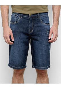 Bermuda Jeans Tks Estonada Masculina - Masculino-Azul Escuro