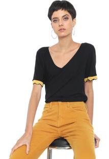 Camiseta Mob Canelada Preta/Amarela