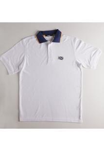 Camisa Polo Piquê Lisa Com Vivo Branco P