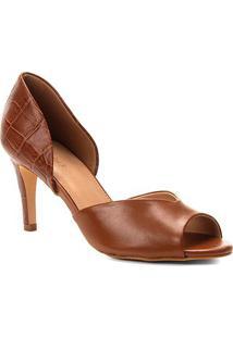 Peep Toe Couro Shoestock Salto Fino Mix Croco - Feminino-Caramelo