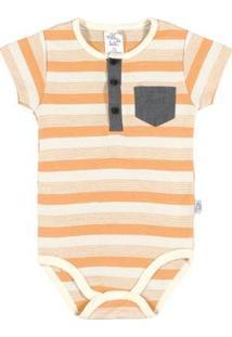 Body Bebê Menino Ribana - Masculino-Laranja+Branco