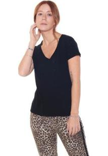 Camiseta Studio 21 Fashion Destroyed - Feminino-Preto