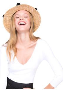 Chapéu Amaro De Palha Com Pompons - Feminino