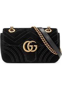1602112b1 Gucci Bolsa Tiracolo Mini 'Gg Marmont' Em Veludo E Seda - Preto