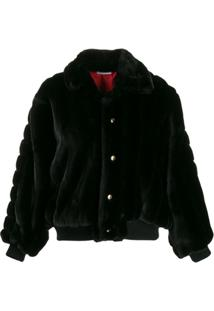 Gcds Oversized Faux Fur Jacket - Preto