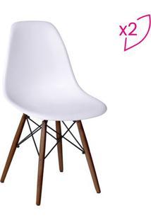 Jogo De Cadeiras Eames Dkr- Branco & Madeira Escura-Or Design