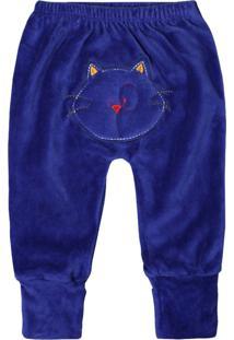 Calça De Bebê Pé Reversível Plush Azul Royal Bordado No Bum Bum Azul Royal