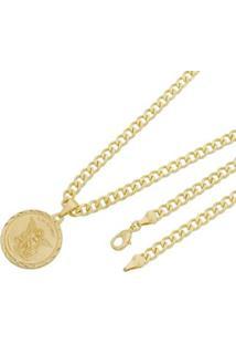 Pingente São Miguel Arcanjo Com Corrente Grumet 5Mm Tudo Joias Folheado A Ouro 18K - Masculino-Dourado