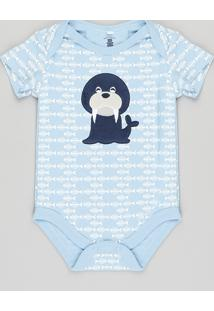 Body Infantil Morsa Estampado Manga Curta Azul Claro
