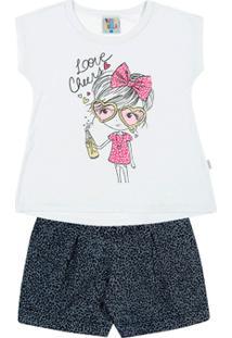 Conjunto Limãojeans Onça Primeiros Passos Menina Jeans Malha Flamemeia Malha - Feminino-Branco