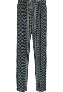 Homme Plissé Issey Miyake Pleated Printed Trousers - Azul