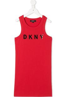 Dkny Kids Vestido Midi Com Estampa De Logo - Vermelho