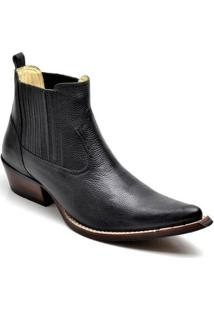 Bota Country Top Franca Shoes Bico Fino Masculino - Masculino-Preto