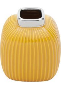 Vaso Decorativo Abóbora Amarelo 13X13 Cm