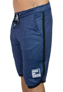 Bermuda Pwrd Moletom Corte Lateral Azul Jeans