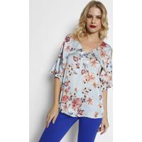 01d8336e2 Blusa Floral Acetinada- Azul Claro & Coral- Simple Lsimple Life