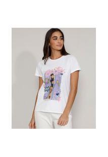 "Camiseta Feminina Manga Curta Friends ""Besties"" Decote Redondo Branca"