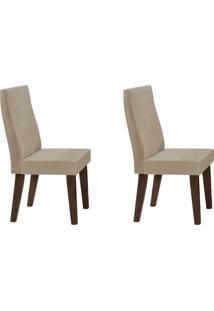 Cadeiras Kit 2 Cadeiras Cannes Castanho/Rústico/Bege - Art Panta