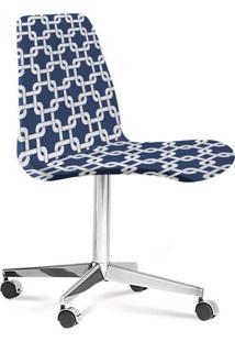 Cadeira Cromada Eames Loft Azul E Branco