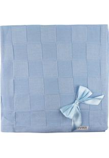 Manta De Tricot Michele Baby Para Bebê Azul Quadriculado Com Laços