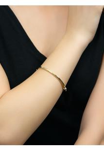 Pulseira De Ouro 18K Feminina Bracelete Algema Quadrada.