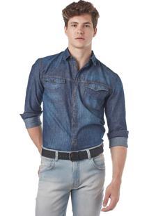 Camisa Manga Longa Convicto Jeans Poá Maquinetado