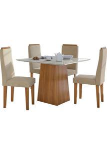 Sala De Jantar Nevada 100Cm Com 4 Cadeiras Rovere Veludo Naturale Creme