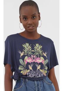 Camiseta Colcci ParaãSos Tropicais Azul-Marinho - Azul Marinho - Feminino - Viscose - Dafiti