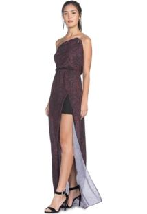 Vestido Amaro Com Fenda De Crepe Leve - Feminino