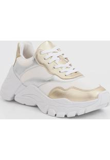 Tênis Feminino Chunky Sneaker Recorte Metalizado Zatz