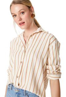 Amaro Feminino Camisa Manga Longa Algodão Botões, Listras Ferrugem