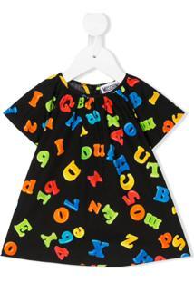 Moschino Kids Vestido Mangas Curtas Com Estampa De Alfabeto - Preto