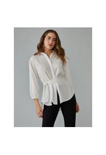 Amaro Feminino Camisa Longa Amarração Cintura, Off-White