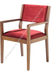 Cadeira Margarida Estofado Com Braco Veludo Vermelho - 36193 - Sun House