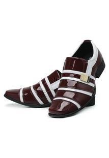Sapato Social Masculino Verniz Brilhoso Bordô/Branco