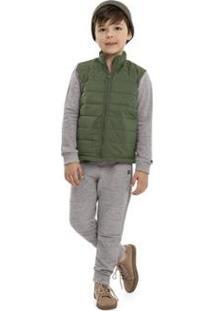 Jaqueta Infantil Em Matelasse Quimby Masculino - Masculino-Verde