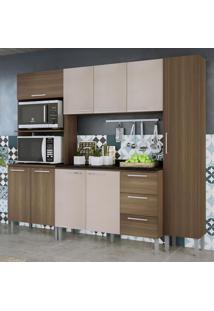 Cozinha Compacta 9 Portas 3 Gavetas Alice 0429T Castanho/Mel 3D - Genialflex