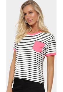 Camiseta Aura Listrada Manga Curta Feminina - Feminino-Pink