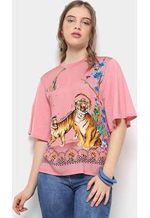 Camiseta Infantil Colcci Estampada Feminina - Feminino-Rosa