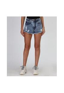 Short Jeans Feminino Cintura Super Alta Destroyed Com Tachas Azul Médio