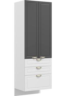 Paneleiro Suspenso 2 Portas E 3 Gavetas Nevada 5628S-Multimóveis - Branco Premium / Grafite Premium / Branco Premium