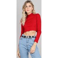 34b878deee Blusa Feminina Em Tricô Cropped Canelada Gola Alta Manga Longa Vermelha